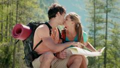 2of12 Young people hiking and trekking on mountain Stock Footage