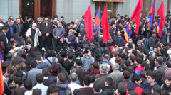 Speech during Genocide Memorial Day, 24 April 2013, Yerevan, Armenia Stock Footage