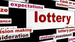 Lottery word clouds message Stock Footage