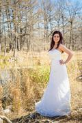 USA, Texas, Potrait of young bride, smiling - stock photo