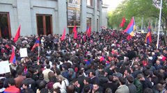 Giving a speech, Genocide Memorial Day, Yerevan Stock Footage