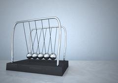 3d illustration of newton pendulum against blue background - stock illustration