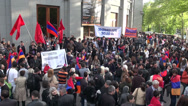 Stock Video Footage of Genocide protest, holding banner