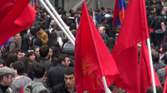 People gather in Yerevan centre Stock Footage