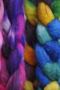Stock Photo of Multi coloured wool pigtails, close up