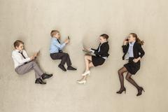 Business kids working in office Stock Photos