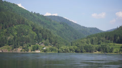 River Yenisei shore view - stock footage