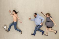 Stock Photo of Women and man running against beige background