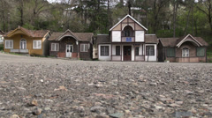 Armenian town, Russian style houses, old schoolbus Stock Footage