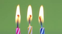 Three birthday  candles Stock Footage