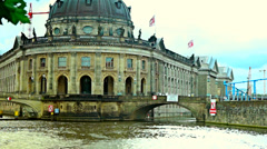 Tourist boats on Spree river in front of the Bode museum Stock Footage