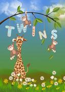 Jungle animals for twins Stock Illustration