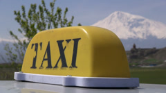 Taxi sign, 'Mount Ararat', monastery, Armenia Stock Footage