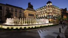 Granada Plaza Isabel and Fountain - stock footage