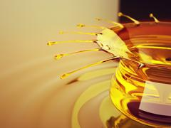 Oil splash and ripples with drops Stock Illustration