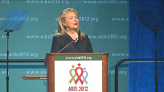 "Hillary Clinton ""An AIDS free generation"" Stock Footage"