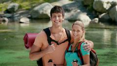 12of12 Young people hiking and trekking on mountain - stock footage