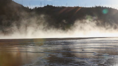 Sulfur Hot Springs With Steam Rising Stock Footage