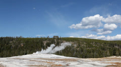 Old Faithful Geyser Steaming But Not Blowing Stock Footage