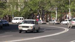 Traffic in a corner in Yerevan Stock Footage