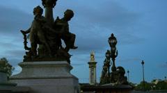 Detail of Alexander bridge in Paris Stock Footage
