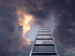 ladder into dramatic sky - stock illustration
