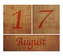 wooden calendar august 17. - stock illustration