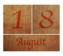 wooden calendar august 18. - stock illustration