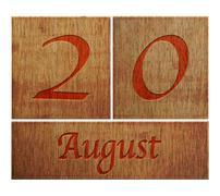 wooden calendar august 20. - stock illustration