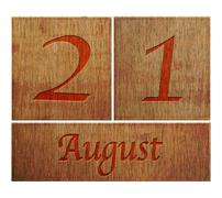 Wooden calendar august 21. Stock Illustration
