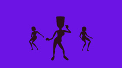 Disco dancers silhouette  keyed background color change HD - stock footage