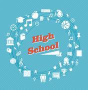 education high school icons. - stock illustration