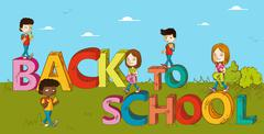 Education back to school kids cartoon. Stock Illustration