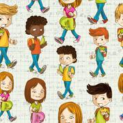 Back to school cartoon kids education seamless pattern. Stock Illustration