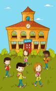 Back to school education kids cartoon. Stock Illustration