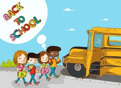 Back to school education kids walking to school bus. Stock Illustration