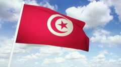 Flag Tunisia 02 Stock Footage
