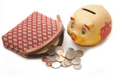 Moneybag  and piggy bank ,money accumulation concept Stock Photos