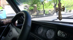 Lada taxi, Yerevan, Armenia Stock Footage
