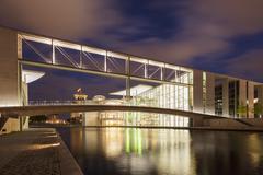 Stock Photo of Germany, Berlin, Legislative building of Paul Loebe haus at night