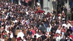 Crowds walk through Istanbul shopping street Stock Footage