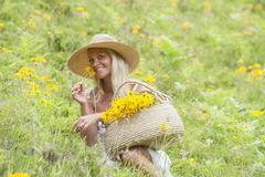 Austria, Altenmarkt-Zauchensee, Mid adult woman in alpine meadow with arnica Stock Photos