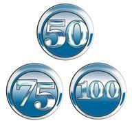 50 75 100 in blue chrome Stock Illustration