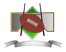 Football and goal post on metal crest Stock Illustration