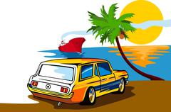 Stock Illustration of ford mustang station wagon beach.