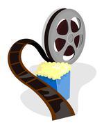 movie reel with popcorn - stock illustration