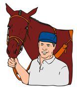 Stock Illustration of equestrian horse retro.