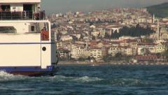 Ferry on Bosporus, Istanbul, transportation in metropolis, Asia, Europe Stock Footage