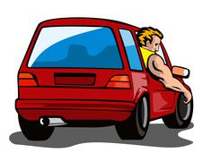 Red car station wagon with man Stock Illustration