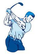 Golfer swinging. Stock Illustration